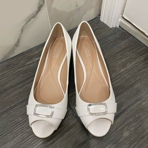 Womens Alfani White Open Toe Buckle Wedges